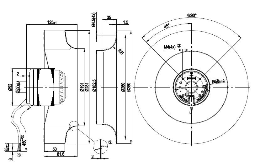 ventilateur centrifuges  u00e0 r u00e9action ebmpapst r2e280