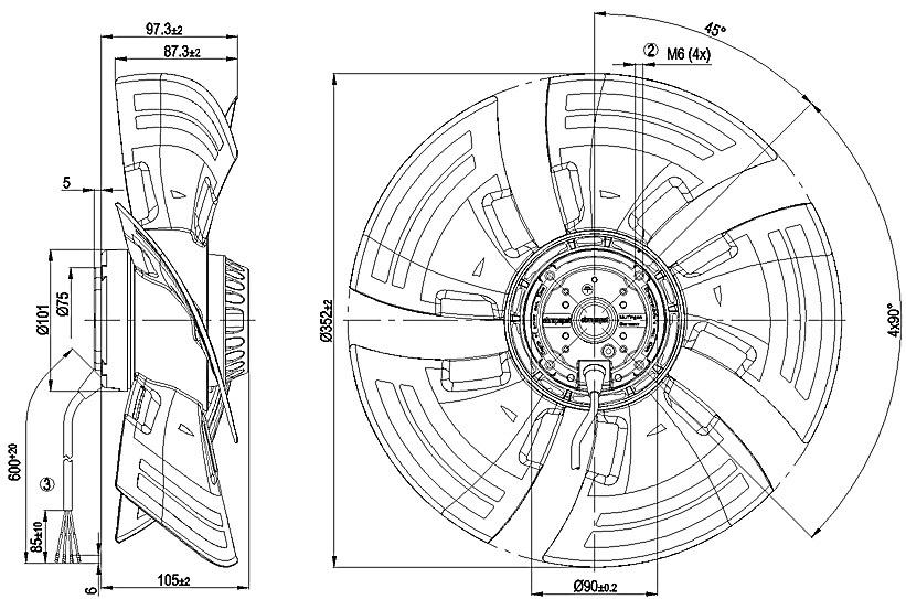 ventilateur axial compact ebmpapst a4e350