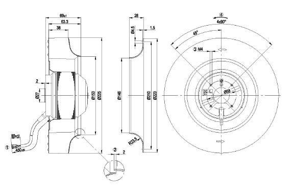ventilateur centrifuges  u00e0 r u00e9action ebmpapst r2e225